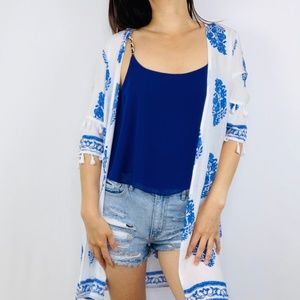Blue and White Kimono with White Tassels